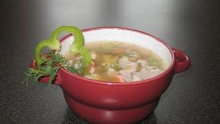 Гречневый суп с курицей. Сосиски в тесте.