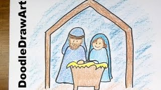 Drawing: How To Draw a Cartoon Nativity Scene