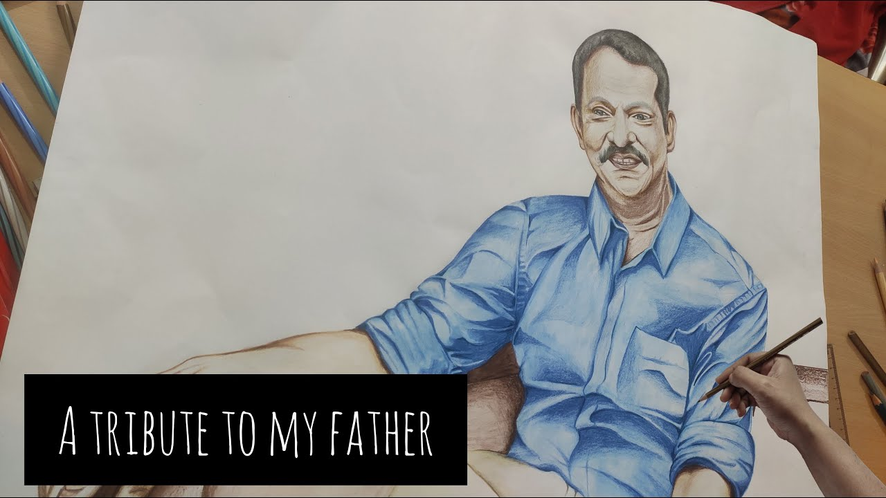 A Tribute To My Father | Pencil Color Portrait Drawing | Time Lapse |