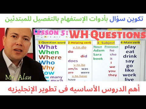4 كيف تسأل سؤال فى اللغه الانجليزيه فى المضارع والماضى والمستقبل والمستمر.الدرس . The Question