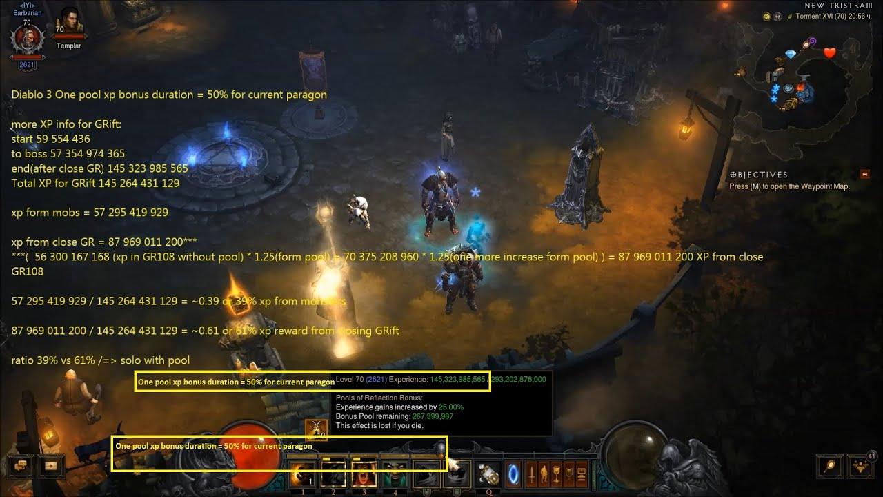 Diablo 3 One pool xp bonus duration = 50% for current paragon