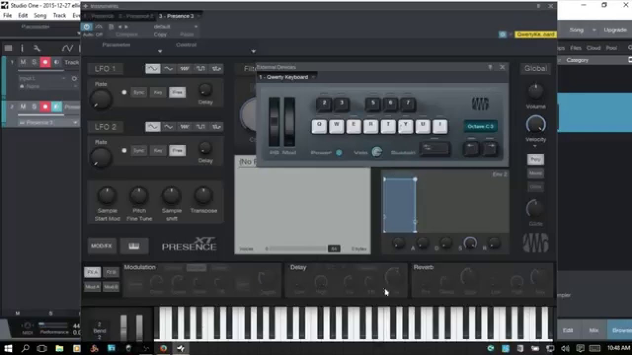 Using Your QWERTY Keyboard to Play VST Instruments in Studio One