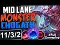 MID LANE MONSTER CHO'GATH | New Runes Cho'Gath vs Akali MID BUILD | RANKED SEASON 8 Gameplay