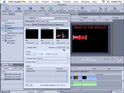 DVD Studio Pro Tutorial | 101 | Simple Motion Menus