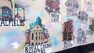 Wall graffiti map of London tower hamlets.