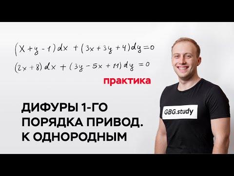 Дифференциальные уравнения 1-го порядка, приводящиеся к однородным (практика)