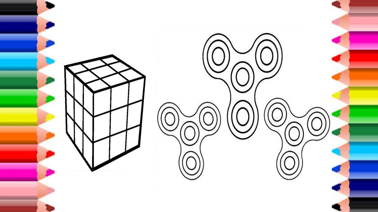 Coloring Rubik's Cube and Fidget Spinner | Coloring Pages ...