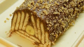 Mozaik kolač sa čokoladnim pudingom i bananama