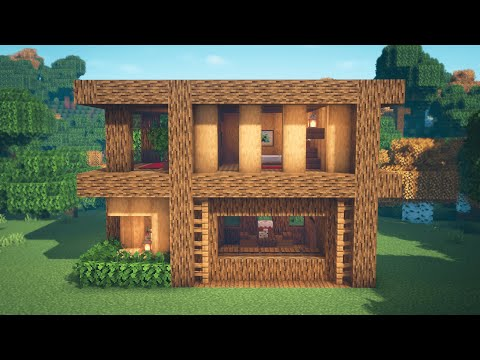 Minecraft | How to Build a Wooden Modern House