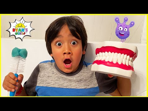 Ryan learns why do we brush our teeth!   Educational Video for Kids