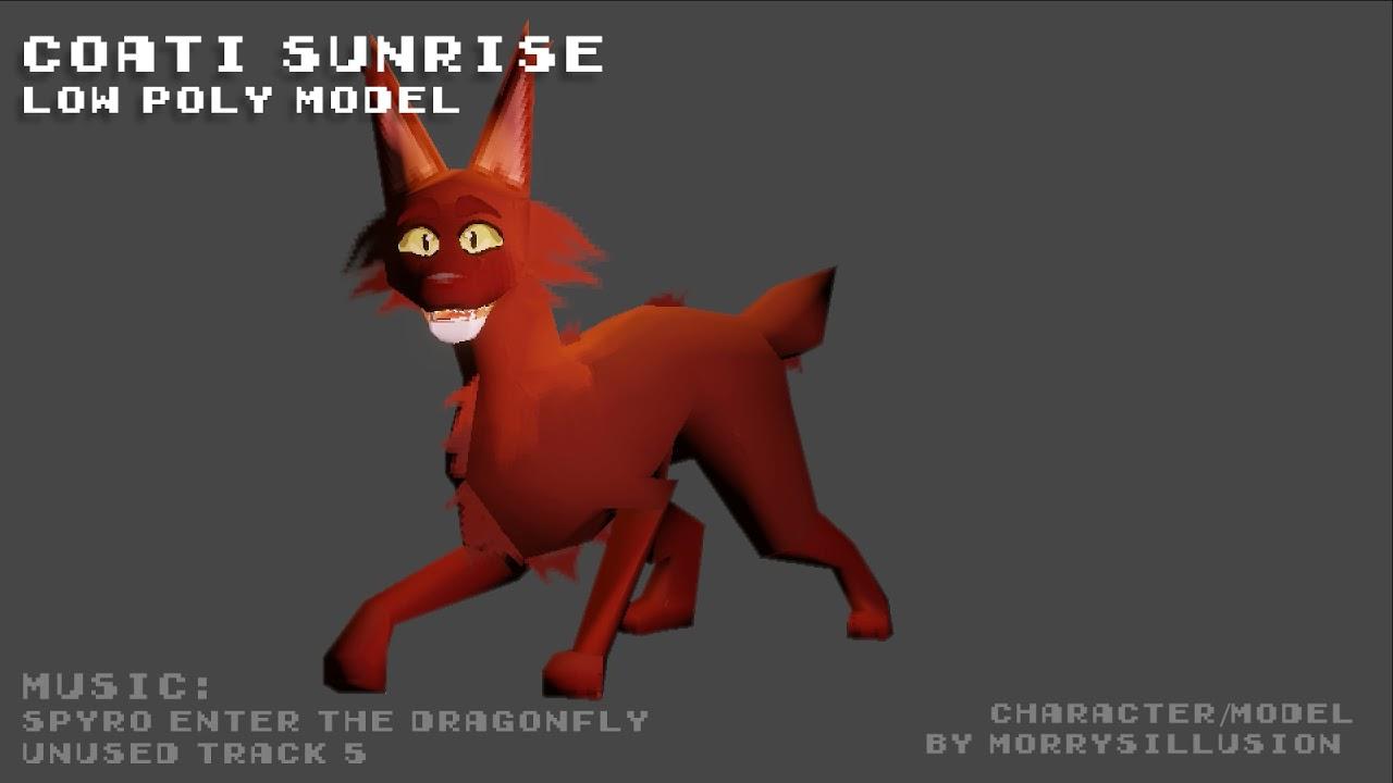 "Warrior Cats OC ""Coati Sunrise""   low-poly 3D model showcase (Blender 2.9)"