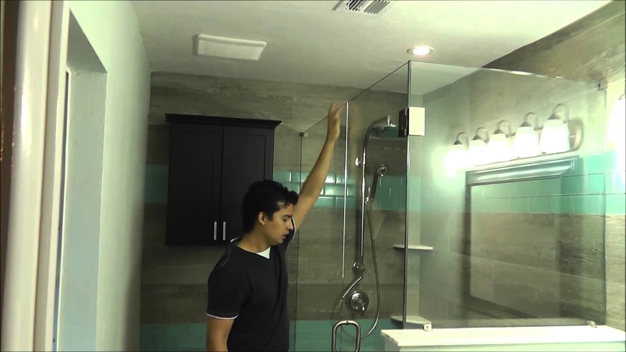 L shape shower glass door - YouTube