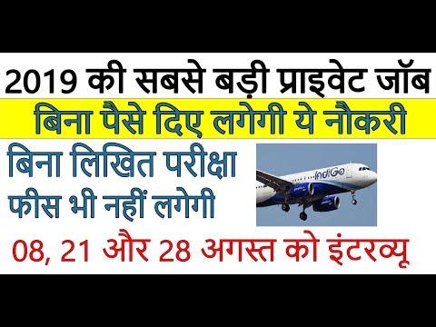 Private Job - सबसे बड़ी प्राइवेट जॉब ll नौकरी पाने का बड़ा मौका ll Indigo Airlines Recruitment 2019
