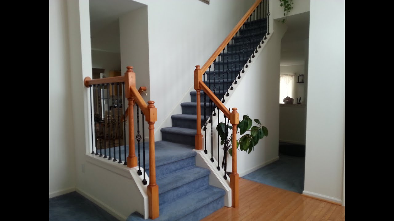 Diy Stairs Iron Baluster Installation Wood Spindle Removal   Oak Handrail White Spindles   Stair Square Spindle   Staircase   Switchback Stair   Goes Golden Oak Staircase   Replacement