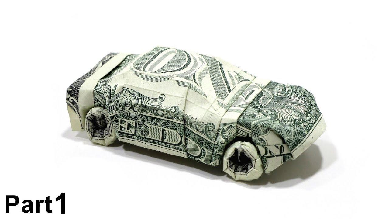 ORIGAMI DOLLAR CAR TUTORIAL Won Park PART 1 2 Dollar Bills Money SPORT Cabriolet
