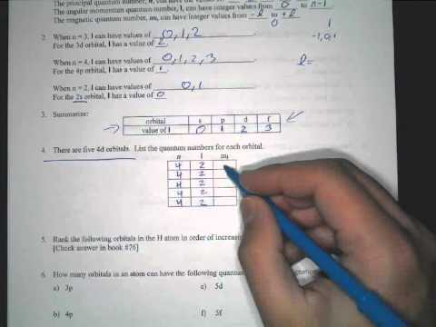 Quantum Number Practice Sheet Explanation - YouTube