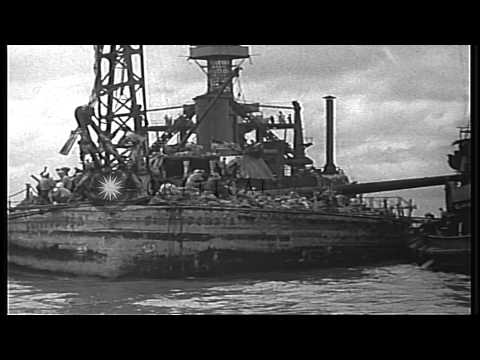 Salvage and repair of the USS California (BB-44)  at U.S. Naval Station, Pearl Ha...HD Stock Footage