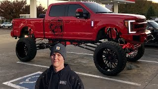 "This 19 Year Old has a SICK 20"" LIFTED Ford F250 on 42's ($150,000)"