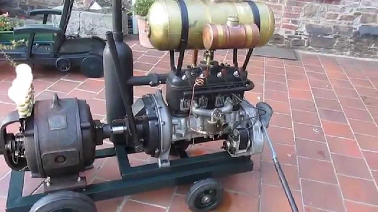 DKW stationary engine 4 cyl 2 stroke driving a French dynamo