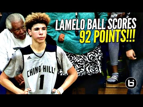 Thumbnail: LaMelo Ball Scores 92 POINTS!!!! 41 In The 4th Quarter!! FULL Highlights! Chino Hills vs Los Osos!!