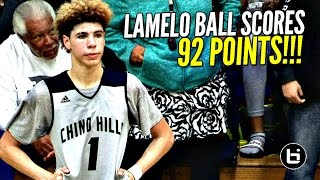 LaMelo Ball Scores 92 POINTS!!!! 41 In The 4th Quarter!! FULL Highlights! Chino Hills vs Los Osos!!(LaMelo Ball scored 92 points today out his team's 146 total!! Chino Hills vs Los Osos FULL Highlights!! Box Score: ..., 2017-02-08T05:04:43.000Z)