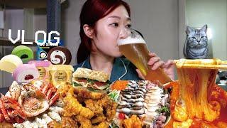 [먹방 브이로그] 엽떡x허니콤보, 킹크랩, 물회, 곱창전골, 양평해장국