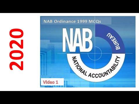 NAB Ordinance 1999 MCQs | Video #1