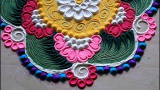 New and easy rangoli design l Rangoli designs with colours l Muggulu kolam rangoli l  रंगोली डिजाइन