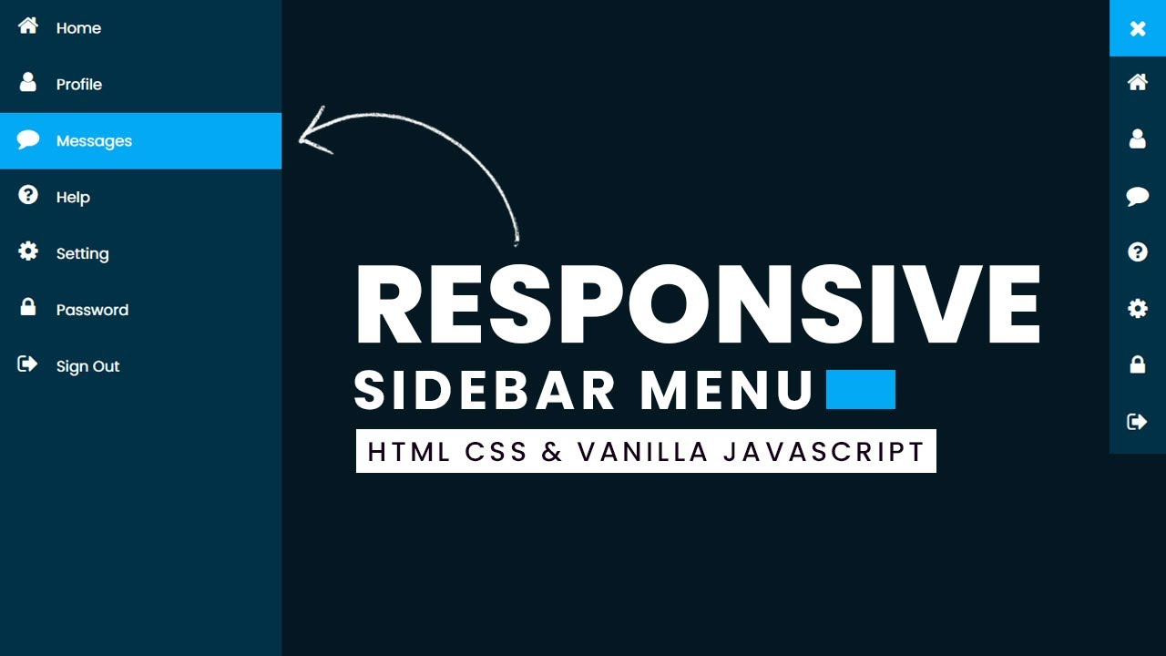 How to Create Responsive Sidebar Menu Using Html CSS & Javascript | Dashboard Sidebar Menu