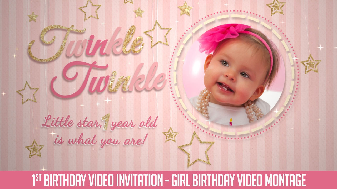 first birthday invitation video twinkle twinkle little star baby girl
