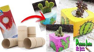 Como hacer materas o macetas en cemento reciclando y decorarlas con cactus muy fácil