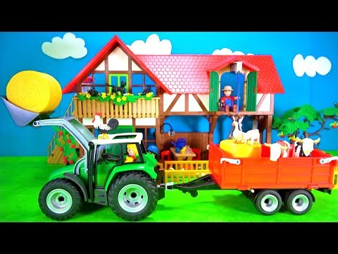 Playmobil Farm Animals Playset Build and Play Learn Colors Fun Toys for Kids Tractor Trailer Playset