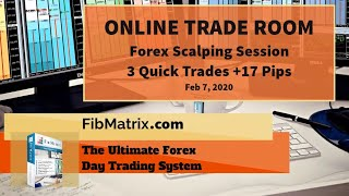 02 07 2020 3 Quick Trades +17 pips FibMatrix Forex Price Action Software and Live Online Trade Room