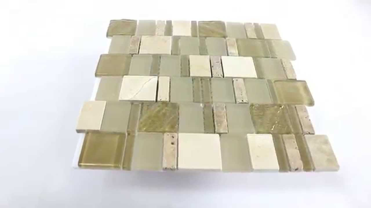 Marmor Glas Travertin Mosaik Fliesen Beige 4 Mix Format - YouTube