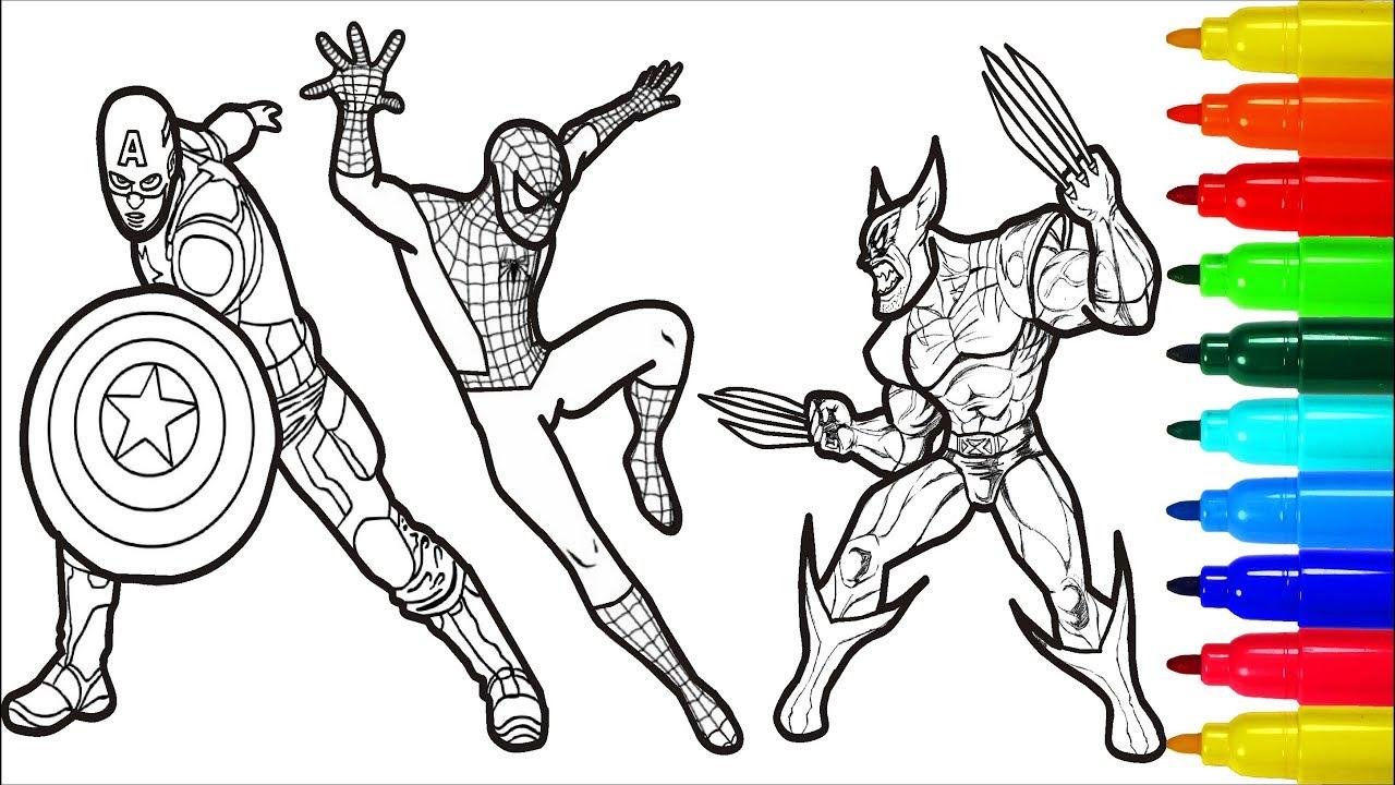 spiderman iron man deadpool captain america wolverine