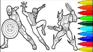 Spiderman Iron Man Deadpool Captain America Wolverine Coloring Pages | Superheros Coloring Pages