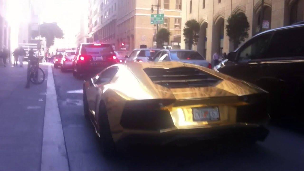 Lamborghini Aventador With Gold Chrome Wrap In Downtown San Francisco
