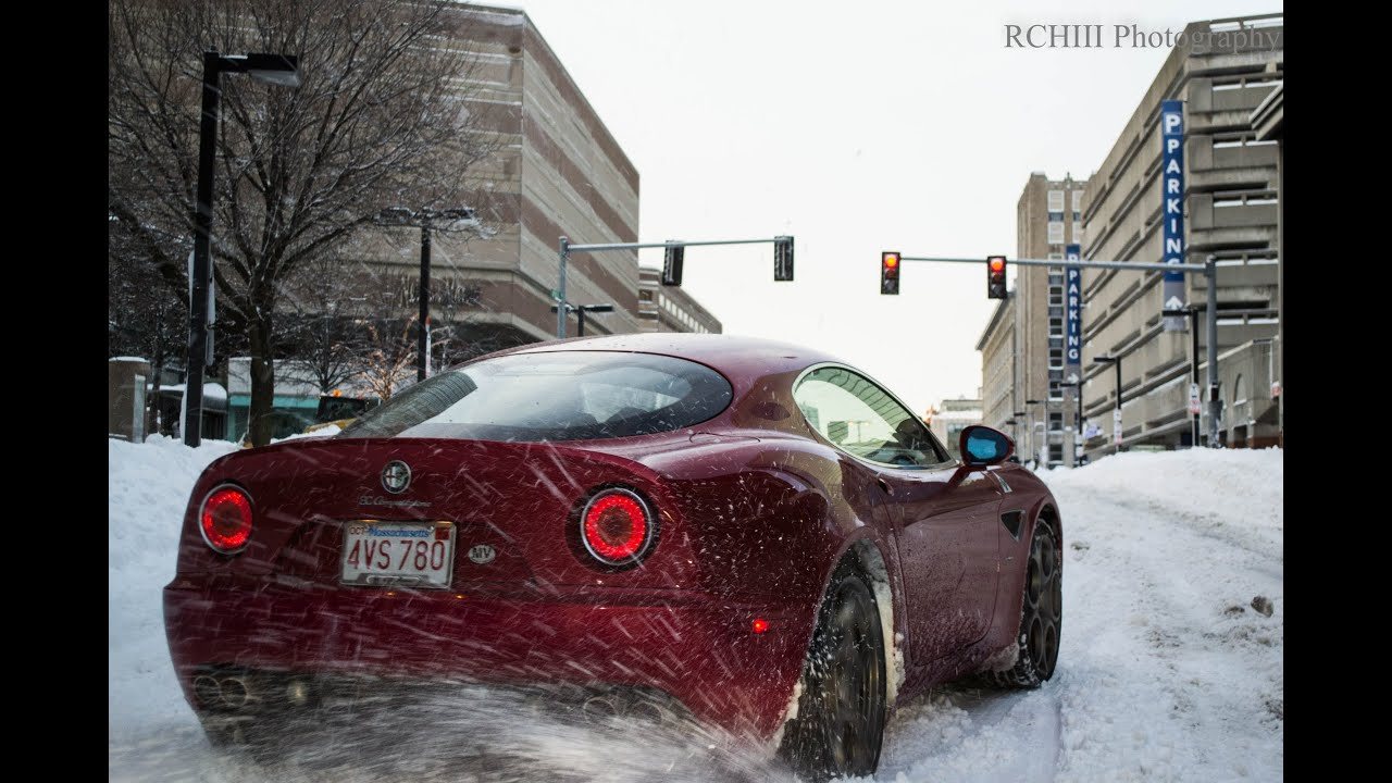 Alfa Romeo 8c Playing In The Snow Youtube