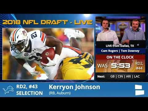 Detroit Lions Select RB Kerryon Johnson From Auburn With Pick #43 In 2nd Round Of 2018 NFL Draft - 동영상