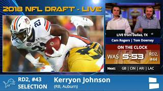 Detroit Lions Select RB Kerryon Johnson From Auburn With Pick #43 In 2nd Round Of 2018 NFL Draft