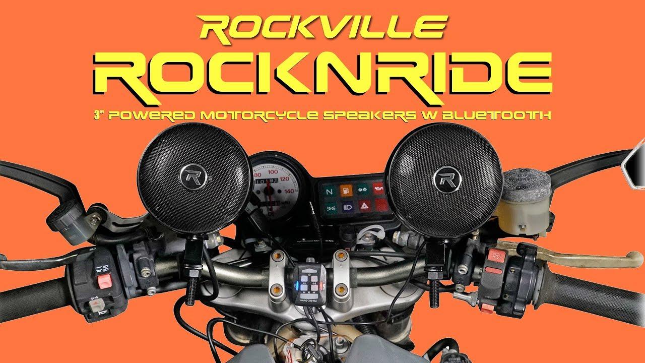 2 Rockville RockNRide 3 Powered Bluetooth Metal Motorcycle Handlebar Speakers