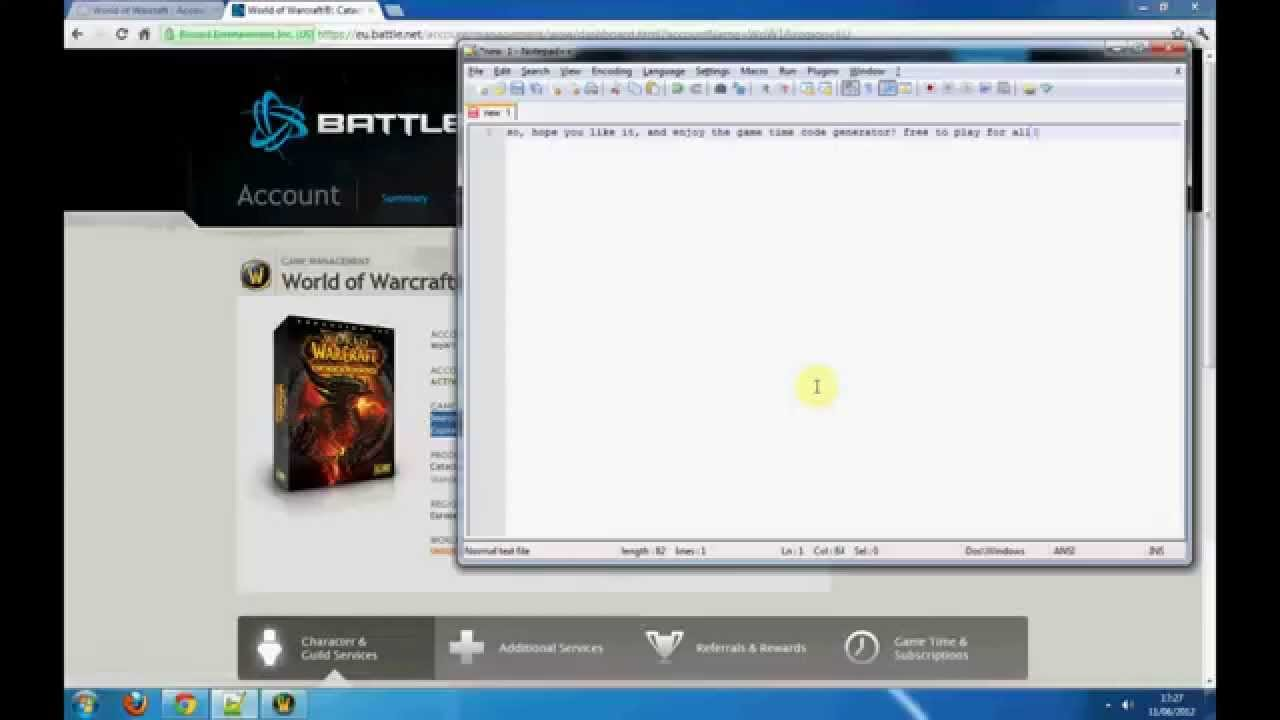 Free World of Warcraft WoW Game Time Code Generator Mists of Pandaria [No  Login][Working20/12/2012]