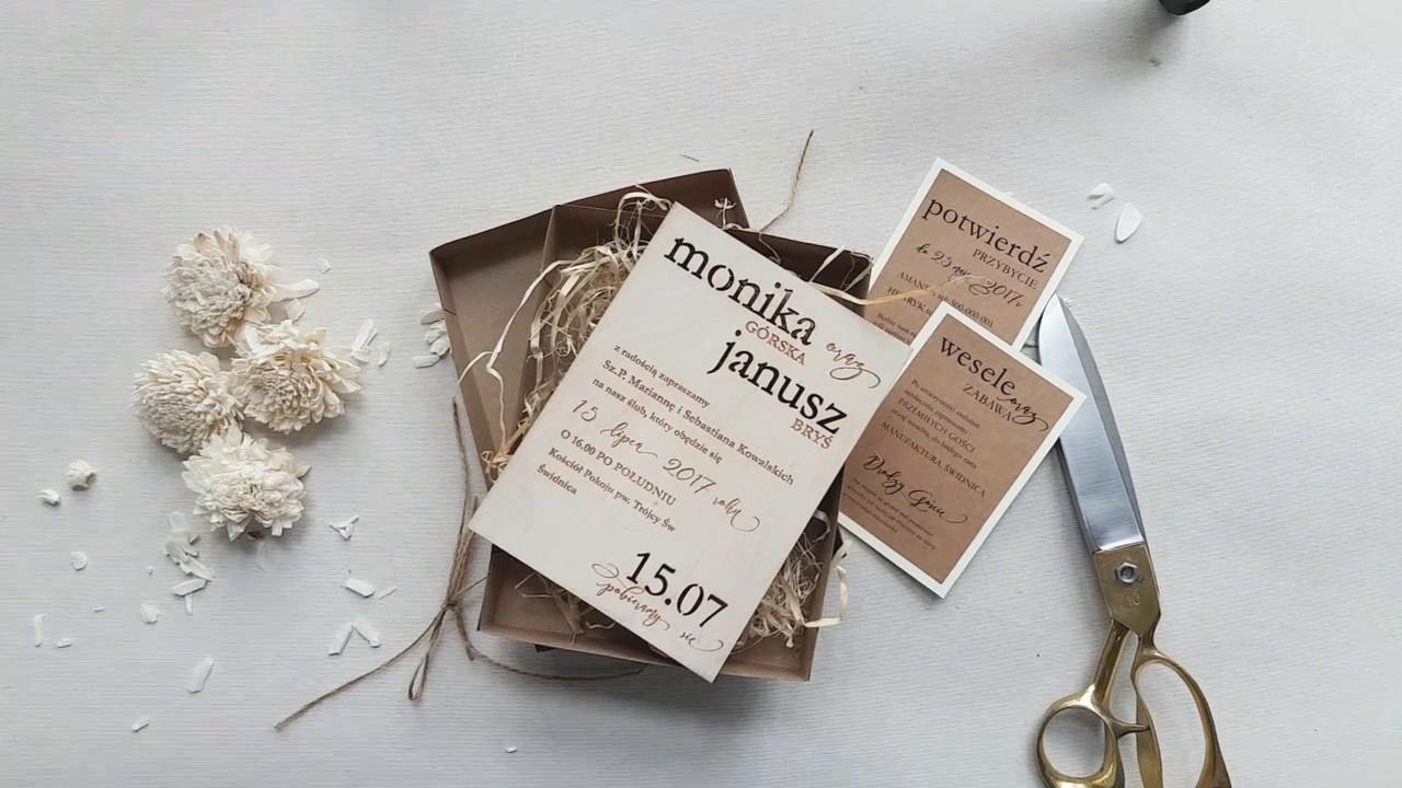 Drewniane Zaproszenia ślubne W Pudełku Dodatki Na Wesele