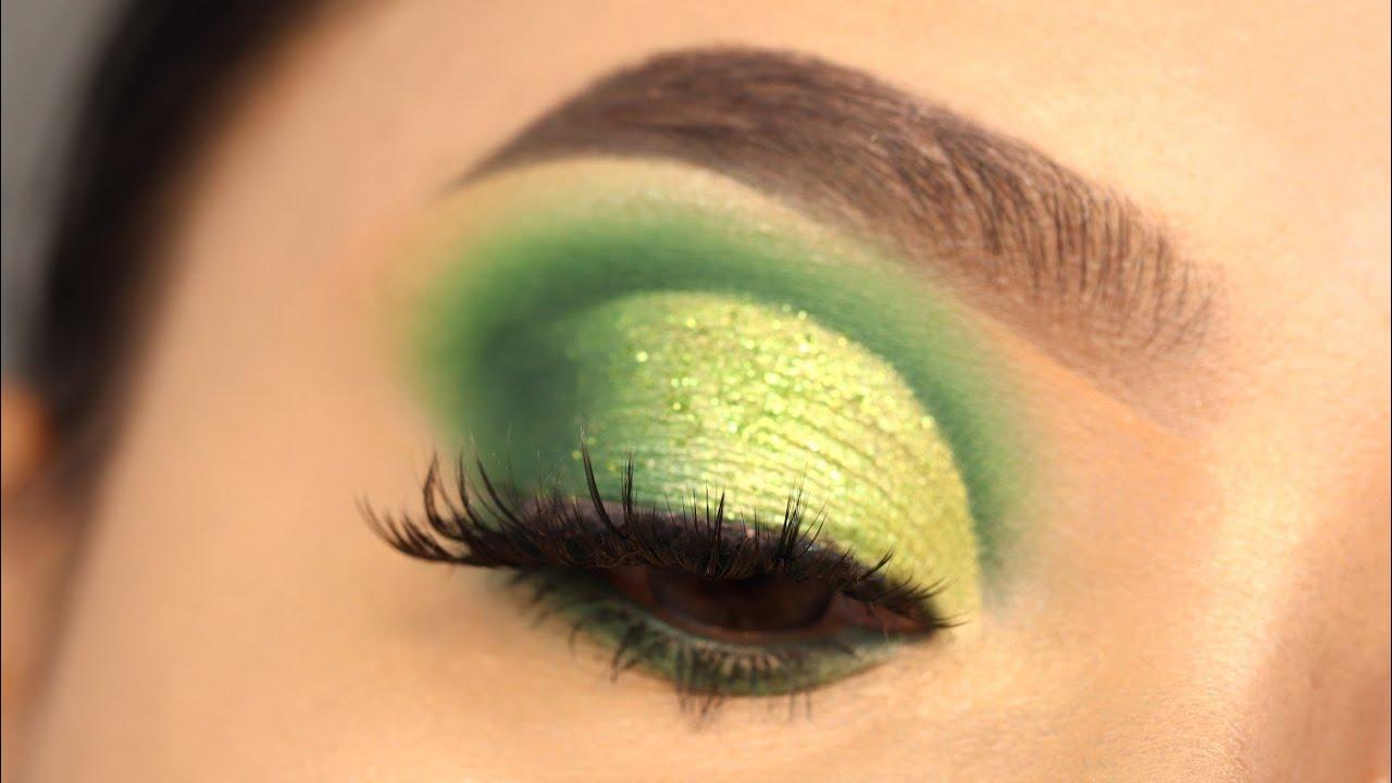 #Shorts Green cut Crease Glitter eye makeup Tutorial || Shilpa