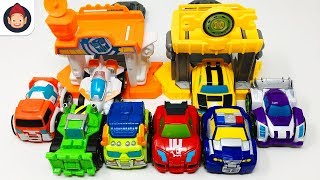 Transformers Rescue Bots FĮip Racers Minis Bumblebee Quick Launch Garage Racing Team Unboxing Video