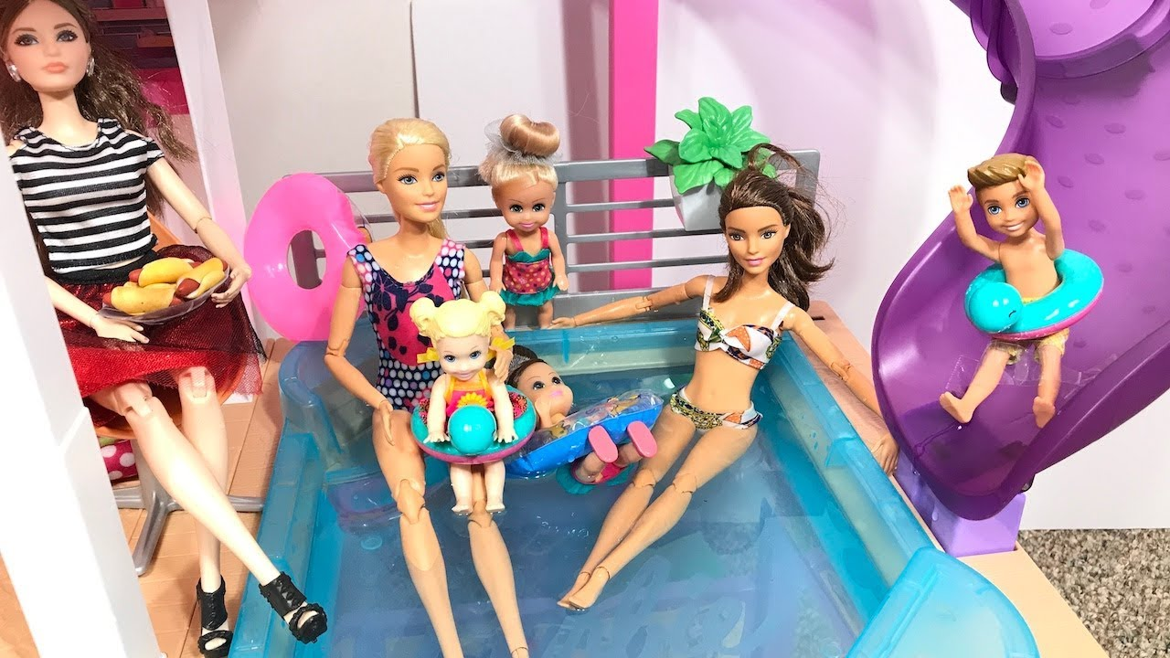 Barbie Pool Party In The Dream House Youtube