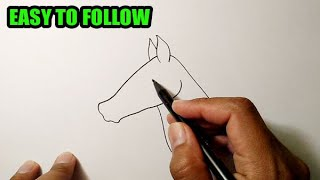 How to draw a horse head side view | EASY TO FOLLOW