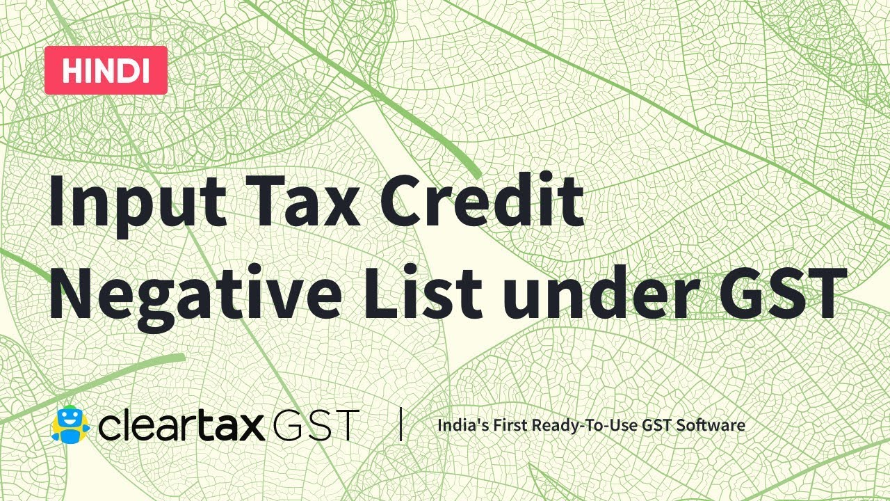 Input Tax Credit Negative List Under Gst In Hindi ज एसट क तहत इनप ट स र ड नक त मक च