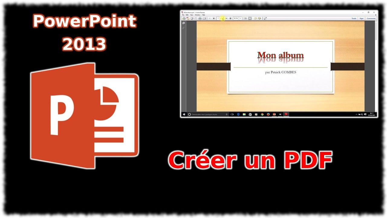 Tuto PowerPoint 2013 - Créer un PDF - YouTube