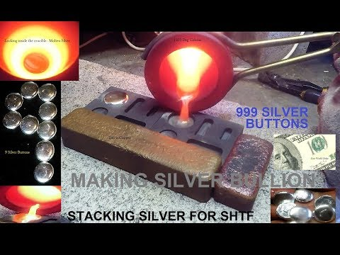 Melting Pure Silver - Pouring Silver Buttons (first try)